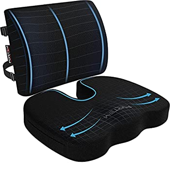 FORTEM Chair Cushion Seat Cushion for Office Chair Lumbar Support Pillow for Chair Car Seat Cushion Back Support Memory Foam Pillow Washable Cover