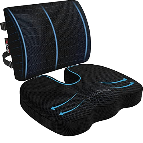 FORTEM Chair Cushion, Seat Cushion for Office Chair, Lumbar Support Pillow for Chair, Car Seat Cushion, Back Support Memory Foam Pillow Washable Cover