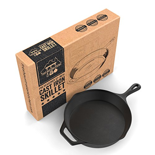 PreSeasoned Cast Iron Skillet 125 Inch by Fresh Australian Kitchen Oven Safe Cookware Perfect Camping Indoors and Outdoor Pan