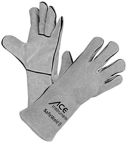 ACE SafeWeld Schweißerhandschuhe - Lange Leder-Schutz-Handschuhe für Schweißer - EN 388/12477 - Weiß/Grau - 11/XL