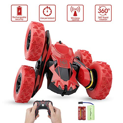 Remote Control Stunt Car - Sugoiti RC 4WD Off Road Rechargeable 2.4GHz 3D Deformation Racing Vehicle,Double Sided Rotating Tumbling 360 Degree Flips Off Road High Speed 7.5MPH Truck,Gift for Kid (Red)