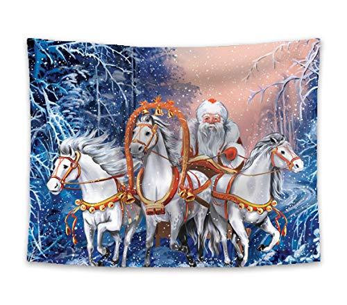 Amiiba Weihnachtsmann Wandteppich Weihnachten Schneelandschaft Tapisserie Wandbehang Weiß Pferd Schlitten Heimdekoration für Schlafzimmer Wohnzimmer (Weihnachtsmann, L – 200,7 x 149,9 cm)