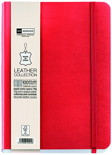 Basicos MR 10442 - Flexible piel cuaderno 4º 300 hojas, cuadricula con índice con goma, color rojo