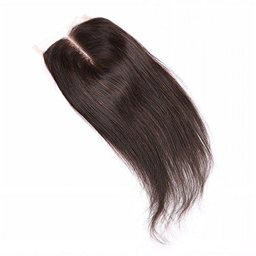 e-forest hairuk humains brésiliens vierges cheveux soyeux droite Fermeture en dentelle (10,2 x 10,2 cm) partie centrale avec cheveux décolorés bébé (10 inch-color Noir naturel) za21