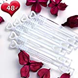 GiftExpress 48 pcs 4.2' White Heart Bubble Wands, Party Favors for Weddings Supplies, Valentine's Day, Party and Anniversaries (48 Pack)