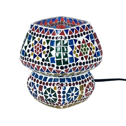 """Lámpara de Mesa Decorativa de Vidrio""""Mosaico -Multicolor"""". Iluminación. Muebles Auxiliares. Adornos. Decoración Hogar. Regalos Originales. 14 x 14 x 17 cm."""