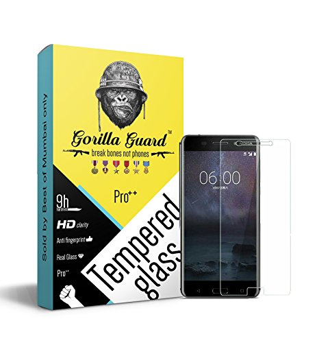 Gorilla Guard 8H Hardness, Oleophobic, UV Protect, 2.5D Rounded Edges, Neo Coated HD+ Clear Tempered Glass Screen Protector with Installation Kit for Nokia 3 5 inch (Pro Series)