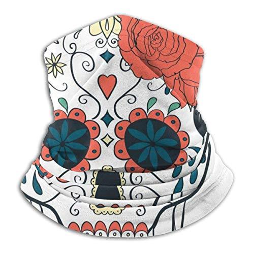 Lawenp Funda de algodón Funda de algodón con calavera y rosas para el cuello, protector solar de verano, polaina para el cuello, máscara facial ligera para actividades al aire libre