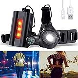 SGODDE Rechargeable USB LED Éclairage de Poitrine pour Course, Lampe Running 3 Modes 500LM Étanche avec Feux Rouge, Idéal pour Courir, Escalade, Jogging, Pêche, Camping, Sports Extérieur - Noir