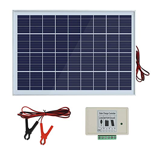 ECO-WORTHY Sistema de panel solar de 20 W: 1 panel PV policristalino de 20 W con 3 cables y clips de batería de 30 A con cable de extensión de 6 pies y módulo solar 3A 12 V/24 V