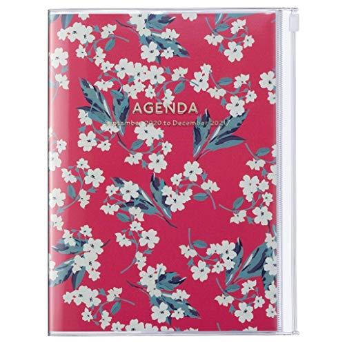 MARK'S 2020/2021 Taschenkalender A5 vertikal, Flower Pattern Red