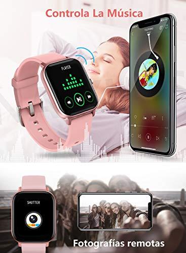 """NAIXUES Smartwatch, Reloj Inteligente Impermeable IP67 Reloj Deportivo 1.4"""" Pantalla Táctil Completa con Pulsómetro, Monitor de Sueño, Podómetro, Notificaciones para Mujer Hombre (Negro) 6"""