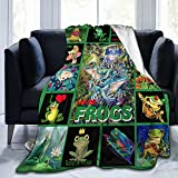 Socira Flannel Throw Blanket,Green Frog Cute Animal Lover Patchwork Small Fleece Sofa Blanket for All-Season,Comfy Camping Lap Blanket,Super Soft Thin Noon Break Blanket for Office Home Car 40''X50''