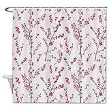Blake55Albert Christmas Cheery Blossom Shower Curtains Fabric for Bathroom,Christmas Shower Curtains,Farmhouse Decor Shower Curtain,Waterproof,72x72,with 12 Hook