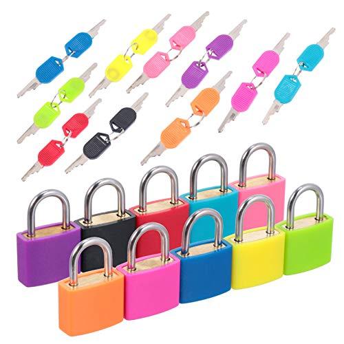 Cabilock 10 Piezas Mini Cerraduras con Llaves Cerradura de Maleta para Mochila Candado de Equipaje para Gimnasio Escolar (Color Ramdom)