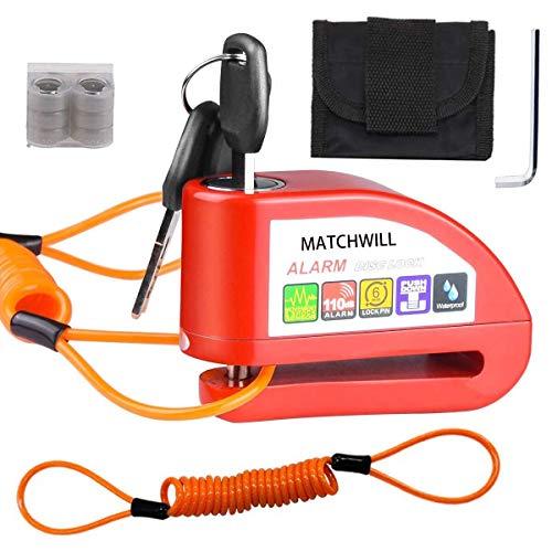 Candado Moto - Candado Disco Moto Dispositivo Antirrobo de Bloqueo de Disco con Alarma Antirrobo de Acero 7mm 110DB Alarma Antirrobo Candado de Disco de Moto con 1.2M Cable