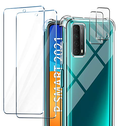 AROYI Funda Compatible con Huawei P Smart 2021, 2 Pack Cristal Templado y 2 Pack Lente de cámara para P Smart 2021, Silicona Suave TPU Carcasa Protección Caso para Huawei P Smart 2021