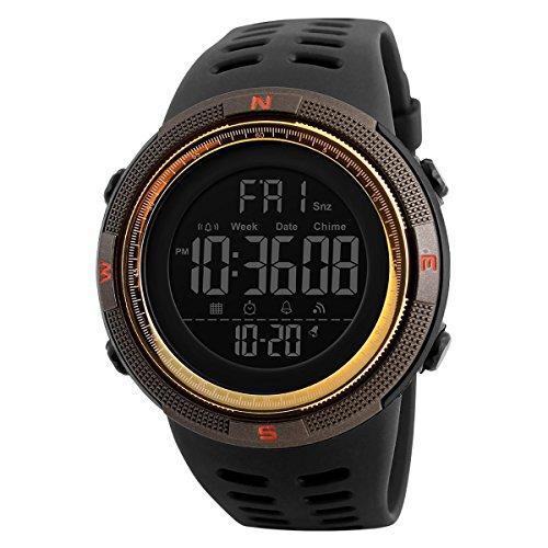 ragazzi sport Watch Simple Outlook da uomo da polso 50m impermeabile elettronico timer conto alla rovescia digitale orologi con cronometro da uomo militare esercito orologio da polso dorato caffè