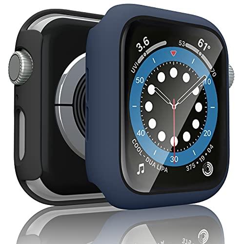 [2 Pezzi] Tobfit Cover Compatibile per Apple Watch 44mm Series 6, Series 5, Series 4, SE 44mm HD Pellicola Protettiva, Custodia Rigida con Vetro Temperato (44mm Per Series 6/SE/5/4, Nero+Blu navy)
