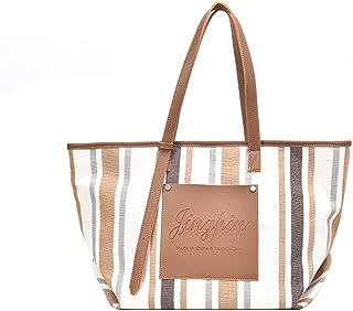 niumanery Charm Women Stripe Large Handbag Canvas Shoulder Bags Lady Casual Wild Tote Brown