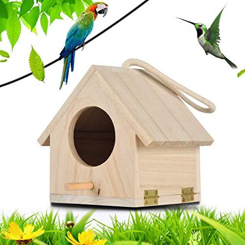 MMLC Hölzerne Vogel Nistkasten Bausatz, Einflugloch zum Aufhängen, Groß Vogelhaus Vogelhäuschen Bird House Für Meise Wellensittiche Rotkehlchen Nymphensittich Rotschwänzchen