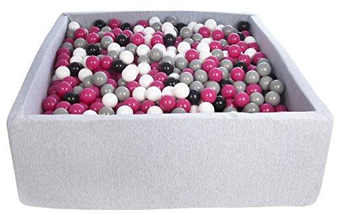 Velinda Piscine a Balles pour Enfant, Dimensions: 120x120 cm, Aire de Jeu + 1200 Balles (Couleurs des Balles: Noir, Blanc, Rose,Gris)