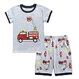 Tyoby Baby Jungen Cartoon Feuerwehrauto Auto drucken T-Shirt + Shorts Anzug(Grau,90)