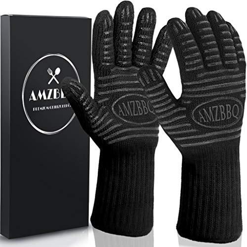 AMZBBQ® Premium Grillhandschuhe, Hitzebeständige Backhandschuhe bis 500 Grad, Extra Lange Ofenhandschuhe, Topfhandschuhe für Küche & Grill, Feuerfeste Kochhandschuhe in Größe L/XL