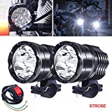 Motorcycle ATV Driving Lights, 2Pcs 40W High/Low/Strobe Spotlights Fog Auxiliary Lights Cree 12V 24V Front Work Universal Headlight For E-Bike Truck Jeep Car Boat With Switch