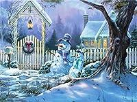 ダイヤモンドの絵画 Diy5Dダイヤモンド絵画「家の雪の冬の風景」クロスステッチスクエアラウンドダイヤモンド刺繡手仕事ラインストーンアート