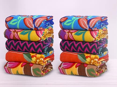 Goyal's ® Fleece Blanket Cum Bed Sheet (Multicolour) - Set of 10