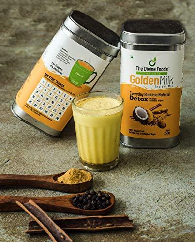 The Divine Foods Organic Golden Milk, Latte | Natural Detox Drink DnD | Haldi Milk | Antioxidant & Anti-Inflammatory High Curcumin Drink | 56 Sachets | (250 gm)