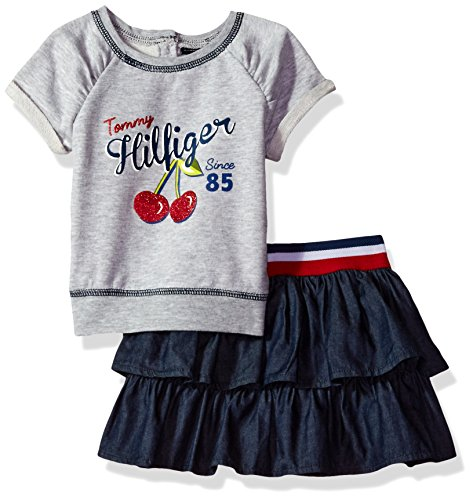 Tommy Hilfiger Baby Girls' 2 Pieces Skirt Set, Gray, 12M