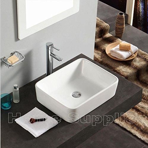 Home Supplies - Lavabo bagno d'appoggio rettangolare, in ceramica