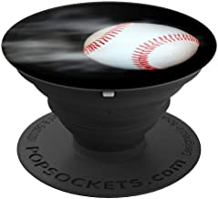 Cool Boys Girls White Moving Baseball on Black Sport Designs - PopSockets Grip and Stand for Phones and Tablets