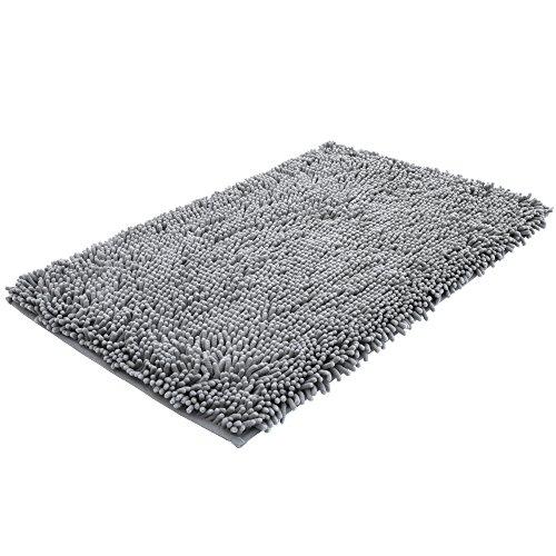 NTTR Super Soft Bath Mat Microfiber Shag Non Slip Absorbent Fast Drying Bathroom Carpet Shower Rug (Gray 24''x36