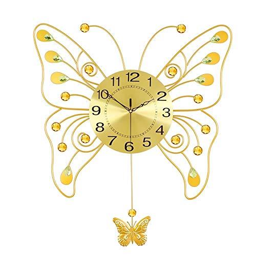 KK Zachary Oro Hierro Mariposa Forma Sala Swing Reloj de Pared Moda Creativo Moderno Reloj Personalidad Decorativo Pared Gráfico Dormitorio Reloj