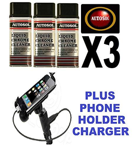 Solvol Autosol Chrome Ali & Metal Polish & Mobile Phone Holder/Charger Cradle 3 x 250ML Liquid Liquid Cover