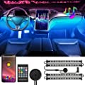 WELLUCK 48 LED Car Interior Lights, Upgrade RF Remote Multicolor Music LED Car Strip Light Under Dash Lighting Kit, Glow Neon Ambient Car Accessories Decor, Waterproof, APP Control, 28 Light Modes