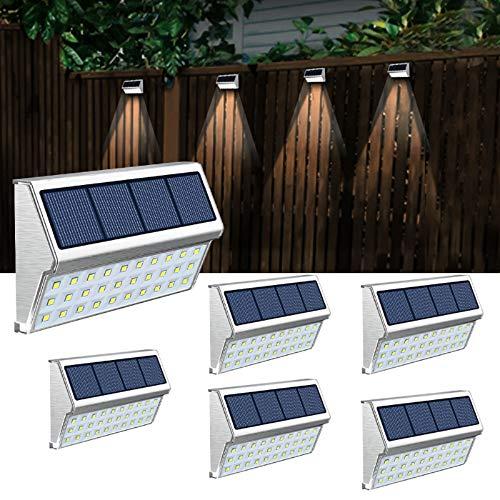 JSOT Solarlampen für Außen, 30 LED Solarleuchte Garten Solarleuchten Wegeleuchte Wandleuchte Led Gartenleuchten Solarleuchten für Außen Wand für Dachrinne Treppen Terrasse - Weißes Licht, 6 Stück