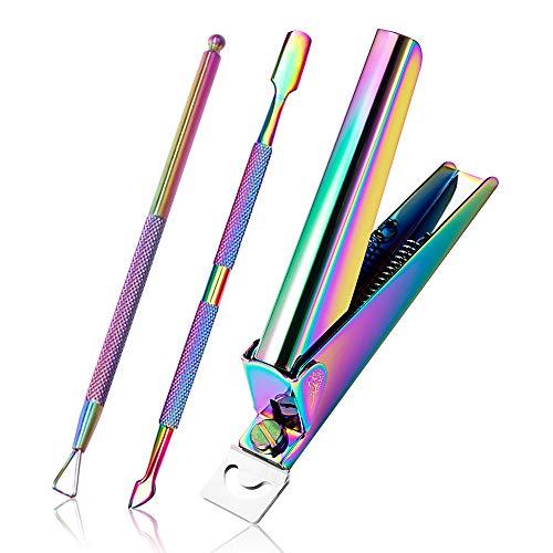 Kalolary 3 pcs Clipper per Unghie con Set di Manicure per Spingi Cuticole, Strumento per Rimuovere lo Smalto per Unghie con Gel Triangolare Kit di Strumenti per Manicure in Acciaio Inossidabile