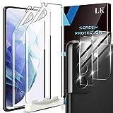 LK 4 Stück Schutzfolie Kompatibel mit Samsung Galaxy S21 Plus & S21 Plus 5G, 2 Kamera Panzerglas & 2 Folie, Blasenfreie TPUBildschirmschutzfolie Vollständige Abdeckung Fingerabdruck-ID unterstützen