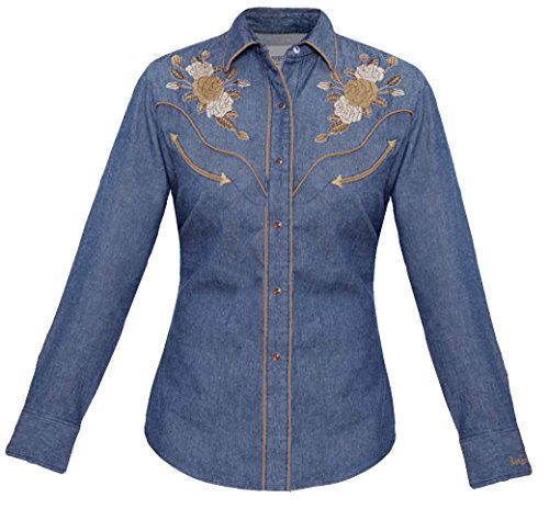 Modestone Women's Embroidered Long Sleeved Fitted Western Camisa Vaquera Floral Denim Blue L