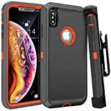 FOGEEK Case for iPhone Xs Max, Belt Clip Holster Heavy Duty Kickstand Cover [Support Wireless Charging] [Dust-Proof] [Shockproof] Compatible for Apple iPhone Xs Max [6.5 Inch] (Dark Grey/Orange)