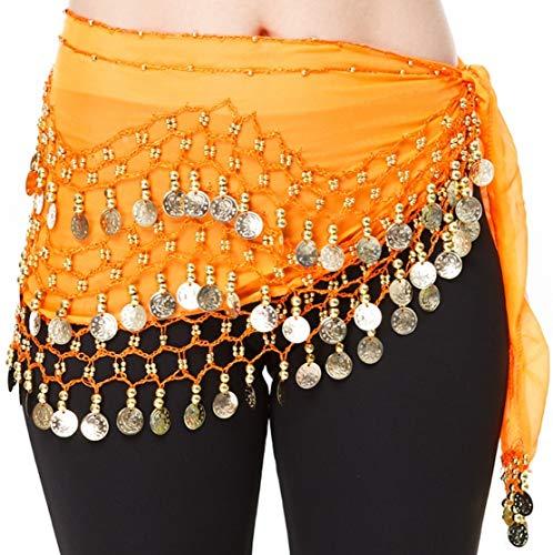 - Hoter pañuelo de gasa con monedas doradas colgando para danza del vientre, a la cadera, Niña mujer, naranja