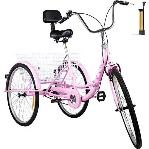 Happybuy Foldable Tricycle 24'' Wheels, 1-Speed Pink Trike, 3 Wheels Colorful Bike with Basket, Portable and Foldable Bicycle for Adults Exercise Shopping Picnic Outdoor Activities