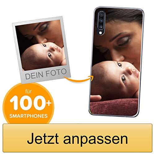 Coverpersonalizzate.it Handyhülle für Samsung Galaxy A70 mit Foto-, Bildern- oder Text selbst gestalten- Die Handyhülle ist aus weichem transparentem TPU-Silikon-Gel Material