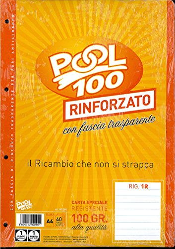 BLOCCO FOGLI A BUCHI RICAMBIO MAXI RINFORZATI RIGHE SENZA MARGINE 100 GR.
