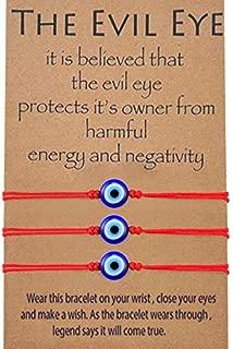 MANVEN Evil Eye Bracelet Adjustable Ojo Turco Lucky Kabbalah Protection Handmade Wish Friendship Bracelet Jewelry Gift for Best Friends Granddaughter Family