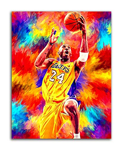 LYML Sports Poster Basketball Superstar Kobe Bryant Poster Print Wall Art Picture Boy Bedroom Decoration Painting (28x38inch(70x96cm),no Enmarcado)